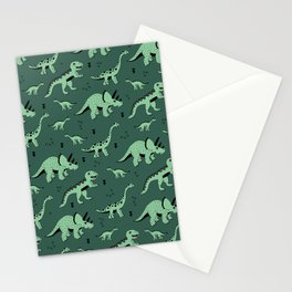 Dinosaur jungle love quirky creatures illustration Stationery Cards