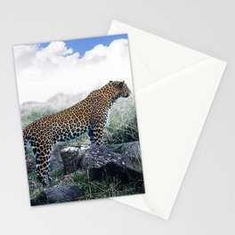 Leopard Surveying His Magnificent Land In Kenya, Africa Stationery Cards