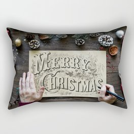 Typography Drawing Of Merry Christmas Rectangular Pillow