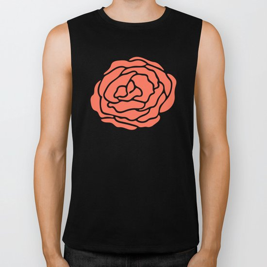Rose Deep Coral on White Biker Tank
