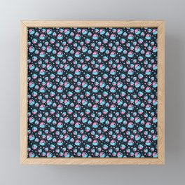 Pattern with Baby Feet  and Hearts on dark blue background Framed Mini Art Print