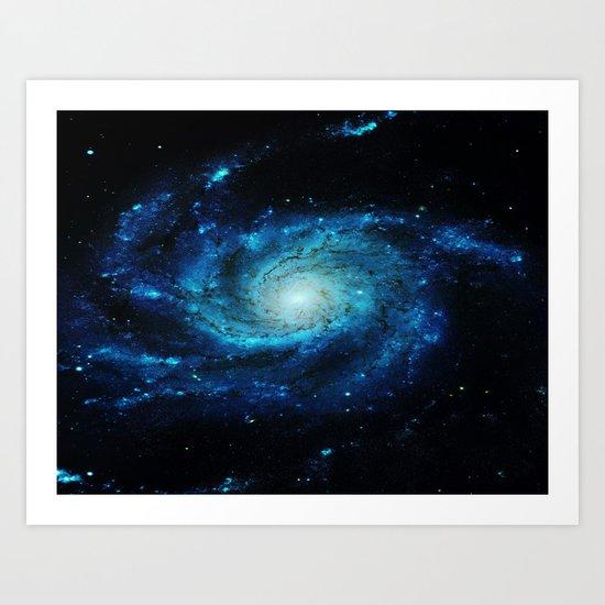 Spiral gAlaxy. Teal Ocean Blue Art Print