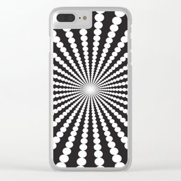 WHITE DOTS SWIRL ON A BLACK BACKGROUND Abstract Art Clear iPhone Case