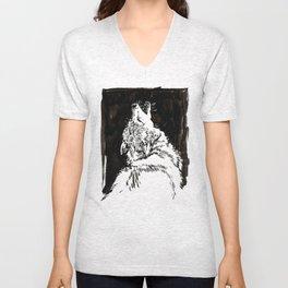 graphic wolf study Unisex V-Neck