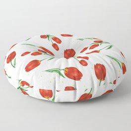 Red Tulips Floor Pillow