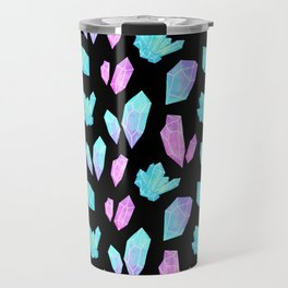 Pastel Watercolor Crystals // Black Travel Mug