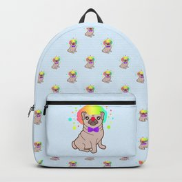 Pug dog in a clown costume pattern Backpack