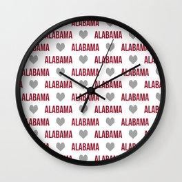 Alabama bama crimson tide typography state college university pattern footabll Wall Clock