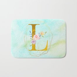 Gold Foil Alphabet Letter L Initials Monogram Frame with a Gold Geometric Wreath Bath Mat