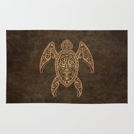 Intricate Vintage and Cracked Sea Turtle Rug