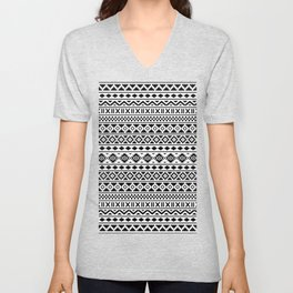 Aztec Essence Pattern Black on White Unisex V-Neck