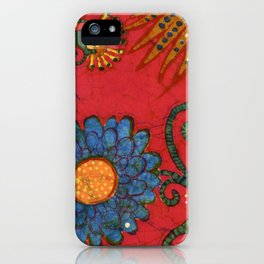 batik butterflies and flowers on red 2 iPhone Case