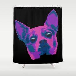 chihuahua - blk Shower Curtain