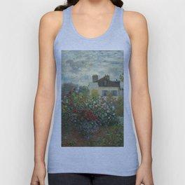 Claude Monet  A Corner of the Garden with Dahlias Unisex Tank Top