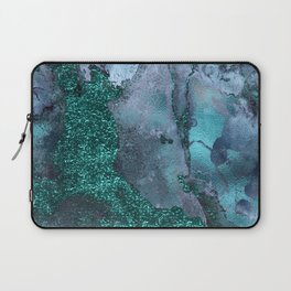Malachite Glitter Stone and Ink Abstract Gem Glamour Marble Laptop Sleeve