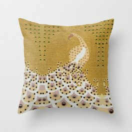 Peacock in Gold Throw Pillow