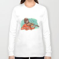 violin Long Sleeve T-shirts featuring Violin by besign79