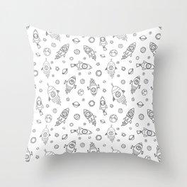 Space animals black on white Throw Pillow