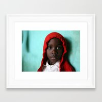 red hood Framed Art Prints featuring Red Hood by Nicole Leever