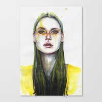 yellow Canvas Prints featuring yellow lemongrass by agnes-cecile