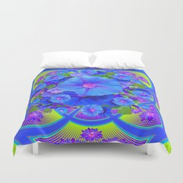 Blue Morning Glories Purple-Green Geometric Abstract Duvet Cover