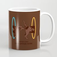 aperture Mugs featuring Aperture Science - Canine Aptitude Testing by Record Makers
