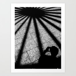 shadow on the tile floor in black and white Art Print