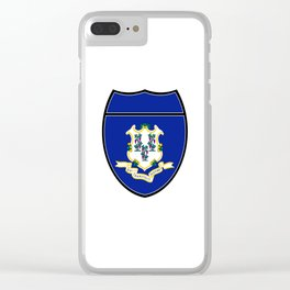 Connecticut Flag In An Interstate Sign Clear iPhone Case