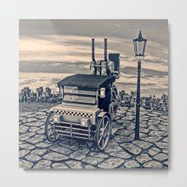 Retro Steam Cab-Taxi Metal Print