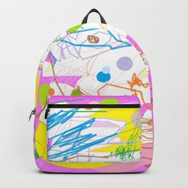 Be happy! colorful doodle abstraction Modern graphic design Pink Yellow Blue Green Neon colors Backpack