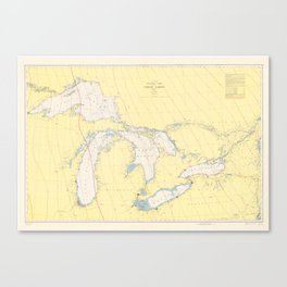 Vintage Map of The Great Lakes (1966) Canvas Print