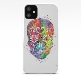Sugar Skull Watercolor Print Wall Poster Home Decor iPhone Case