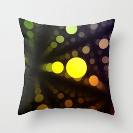 floating warm balls in a dark black space Throw Pillow
