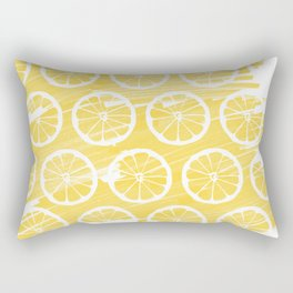 Summery Marker Drawn Lemon Pattern Rectangular Pillow