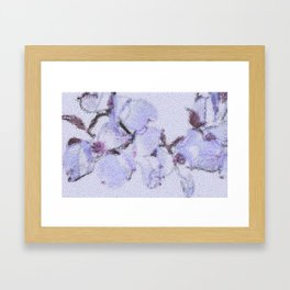 Dogwood Tree Flowers (stained glass-blue) Framed Art Print
