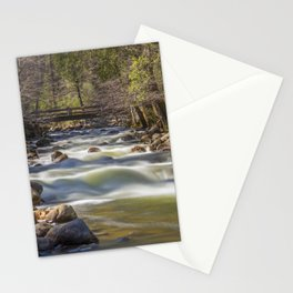A bridge over the Merced River stands solidly over the velvety exposure of the water Stationery Cards
