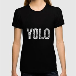 YOLO - White Distressed Letters T-shirt