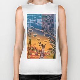 Time through Time, from Caves to Skyscraper, from Organic to Geometric Biker Tank