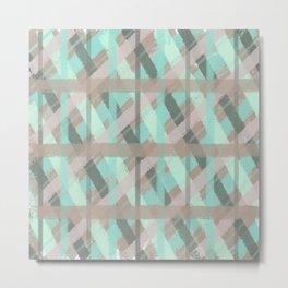 Turquoise and Grey Plaid Distressed Chalk Digital Design Metal Print