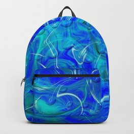 blue abstract modern fractal pattern Backpack