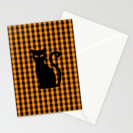 Black Halloween Cat on Orange Pumpkin Gingham Check Stationery Cards