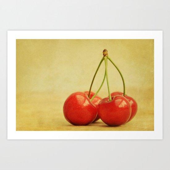four cherries Art Print