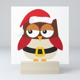 Santa Claus Owl Illustration Mini Art Print