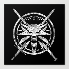 Wolf, Signs, Steel and Silver Canvas Print