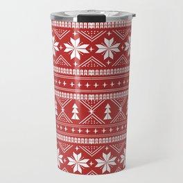 Fair Isle christmas pattern snowflakes camping winter trees christmas tree minimal Travel Mug