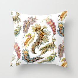 Ernst Haeckel - Nudibranchia (Snails) Throw Pillow