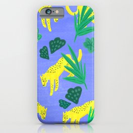 Jungle pattern with pastel blue iPhone Case