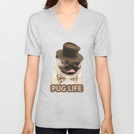 Dog pug with hat Unisex V-Neck