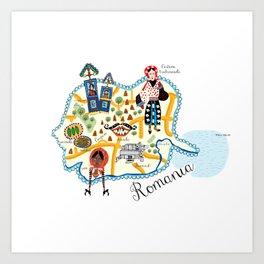 Romania Map Art Print