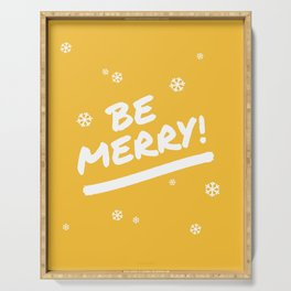 Mustard Yellow Be Merry Christmas Snowflakes Serving Tray